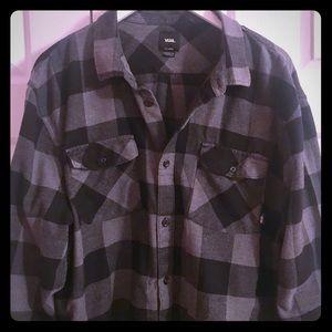Vans Flannel Shirt, Black and Grey